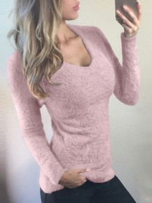 Pink Round Neck Long Sleeve Fashion Going out Pullover Sweater