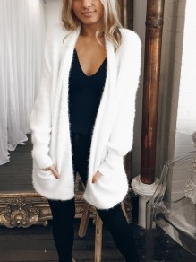 White Pockets Long Sleeve Oversize Casual Cardigan Sweater