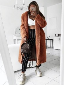 Brown Buttons Pockets Turndown Collar Long Sleeve Casual Teddy Long Coat