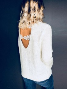 White Patchwork Lace Backless V-neck Long Sleeve Pullover Sweater