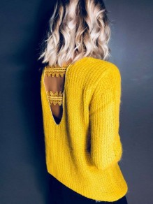 Yellow Patchwork Lace Backless V-neck Long Sleeve Pullover Sweater