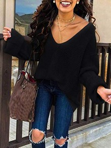 Black V-neck Long Sleeve Going out Casual Pullover Sweater