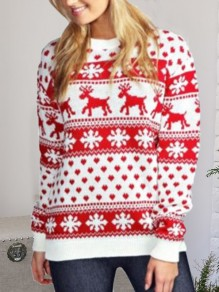 White Floral Elk Snowflake Print Round Neck Long Sleeve Casual Sweater