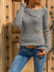Grey Long Sleeve Casual Sweet Going out Pullover Sweater