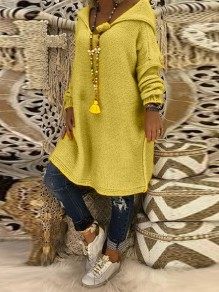 Yellow Hooded Long Sleeve Casual Pullover Sweater