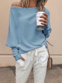 Sky Blue Off Shoulder Strippy Jumpers Long Sleeve Casual Pullover Sweater