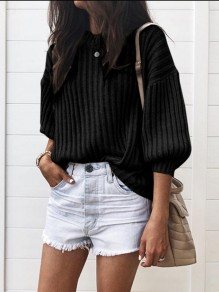 Black Patchwork Round Neck Long Sleeve Casual Pullover Sweater