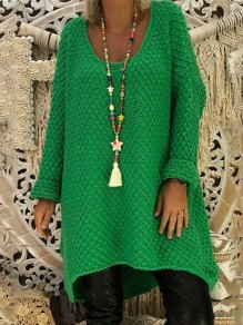 Green Plain Long Sleeve Casual Going out Pullover Sweater