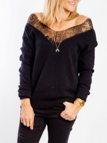 Black Lace Off Shoulder V-neck Long Sleeve Casual Pullover Sweater