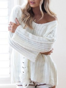 Beige Cut Out V-neck Long Sleeve Going out Pullover Sweater