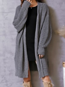 Grey Cut Out V-neck Long Sleeve Casual Cardigan Sweater