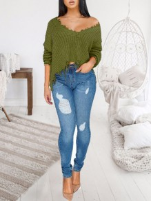 Army Green Patchwork Tassel Irregular One-shoulder Unique Cut Up Oversized Casual Pullover Sweater