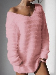 Pink Print V-neck Long Sleeve Casual Pullover Sweater