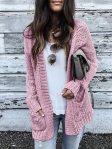 Pink Plain Pockets Long Sleeve Going out Casual Cardigan Sweater