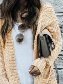 Beige Plain Pockets Long Sleeve Going out Casual Cardigan Sweater