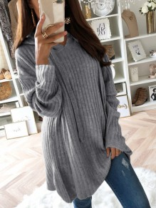 Grey Drawstring Long Sleeve Casual Polyester Pullover Sweater