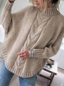 Khaki Patchwork Irregular Collarless Dolman Sleeve Fashion Pullover Sweater
