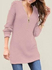 Pink Zipper V-neck Long Sleeve Casual Pullover Sweater