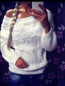 White Irregular Boat Neck Long Sleeve Going out Sweater