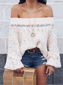 Apricot Cut Out Off Shoulder Lantern Sleeve Oversize Pullover Sweater