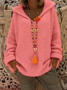 Pink Hooded Long Sleeve Oversize Fashion Pullover Sweater