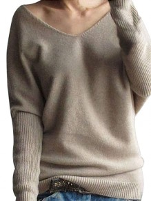 Apricot Cut Out V-neck Long Sleeve Casual Sweater