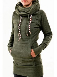 Army Green Drawstring Star Pockets Print Casual Scoop Collar Hooded Sweatshirt