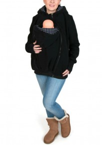 Black Plain Multi-functional Zipper Kangaroo Pockets Cardigan Sweatshirt