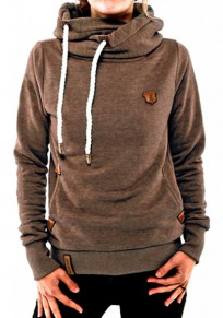 Khaki Plain Pockets Badge Naketano Cowl Neck Plus Size Casual Hooded Pullover Sweatshirt