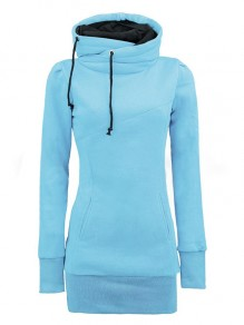Water Blue Plain Drawstring Cowl Neck Plus Size Hooded Pullover Sweatshirt