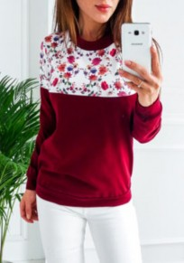 Wine Red Floral Print Round Neck Casual Dacron Pullover Sweatshirt