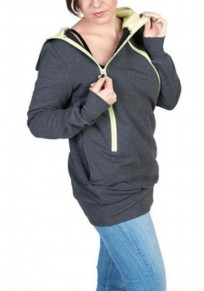 Dark Grey Multi-functional Zipper Kangaroo Baby Bags Hooded Cardigan Sweatshirt