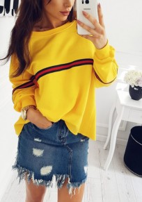 Yellow Striped Round Neck Casual Pullover Sweatshirt
