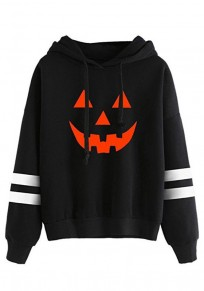 Black Pumpkin Print Drawstring Long Sleeve Casual Hooded Sweatshirt