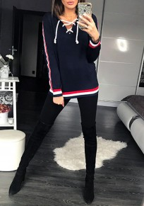 Navy Blue Lace-up Cut Out Hooded Long Sleeve Fashion Sweatshirt
