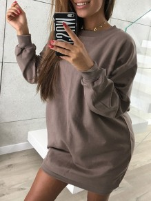 Coffee Plain Round Neck Casual Pullover Sweatshirt