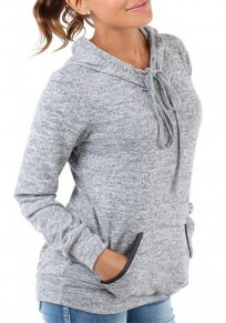 Grey Pockets Drawstring Long Sleeve Hooded Fashion Sweatshirt