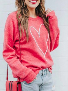Red Love Print Round Neck Long Sleeve Casual Pullover Sweatshirt