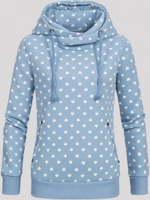 Light Blue Love Print Badge Drawstring Pockets Long Sleeve Hooded Sweatshirt