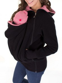 Black Multi-functional Zipper Kangaroo Baby Bags Hooded Cardigan Sweatshirt