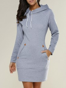 Light Grey Plain Drawstring Pockets Cowl Neck Hooded Pullover Sweatshirt