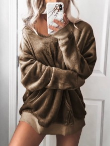 Khaki Pockets Hooded Going out Casual Velvet Pullover Sweatshirt