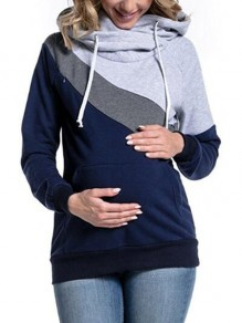 Light Grey Drawstring Cowl Neck Hooded Maternity Lactation Outfit Casual Sweatshirt