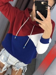 Red Color Block Drawstring Long Sleeve Casual Outdoors Sweatshirt