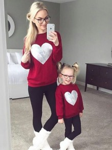 Red Patchwork Sequin Heart Round Neck Long Sleeve Casual Valentine's Day Sweatshirt