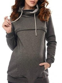 Dark Grey Cut Out Drawstring Pockets Hooded Casual Maternity Sweatshirt