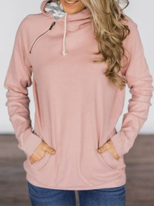 Pink Pockets Drawstring Zipper Hooded Casual Sweatshirt