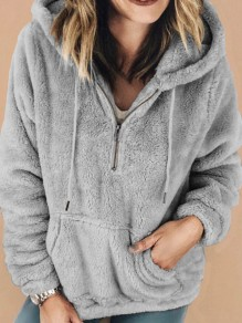 Grey Pockets Zipper Drawstring Hooded Long Sleeve Fashion Sweatshirt