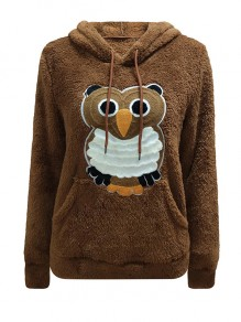 Brown Floral Pockets Print Hooded Long Sleeve Casual Sweater