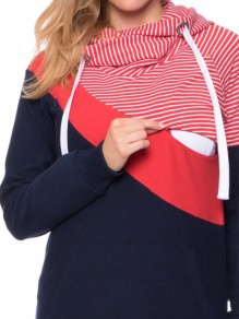 Red Striped Pockets Drawstring Hooded Casual Multi-Funktions Sweatshirt